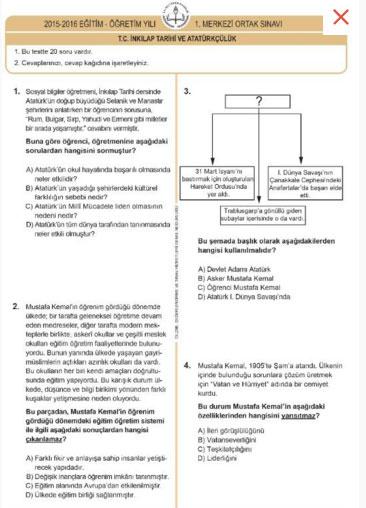 TEOG T.C. İnkılap Tarihi ve Atatürkçülük Sınav Soru ve Cevapları