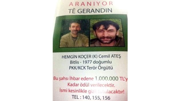 Başına 1 milyon lira ödül konulan PKKlı ölü ele geçirildi