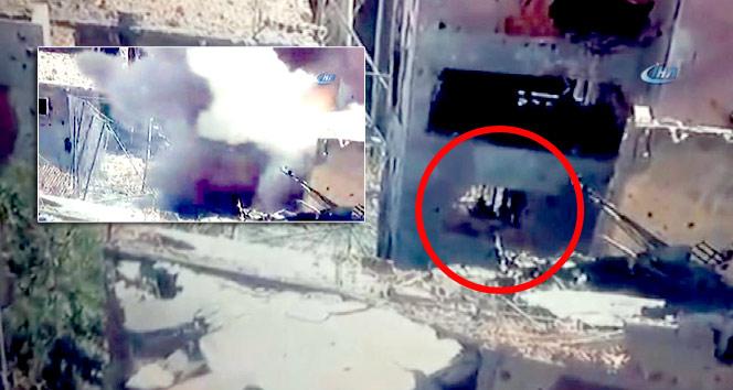 Teröristler gizlendikleri binada böyle vuruldu