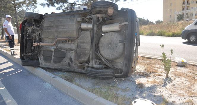 Sökede yan yatan aracın bayan sürücü şok yaşadı