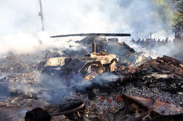 Yangın bir köyü yok etti