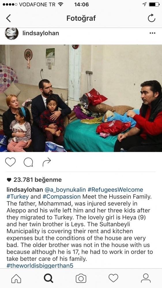 Lindsay Lohan Sultanbeyli'de Suriyeli aileyi ziyaret etti