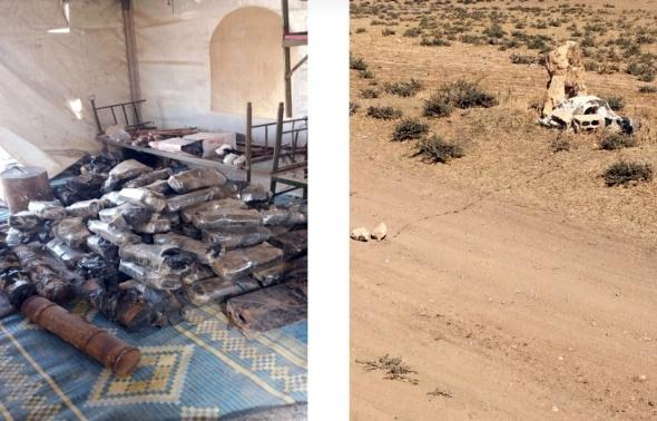 TSK, Kafrah'da ele geçirilen patlayıcıların görüntülerini paylaştı