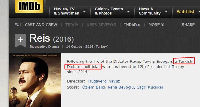 IMDBden Cumhurbaşkanı Erdoğan için küstah paylaşım