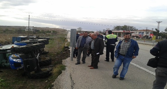Tekirdağ'da traktör devrildi