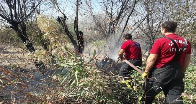 Anız yangını bahçeye sıçradı