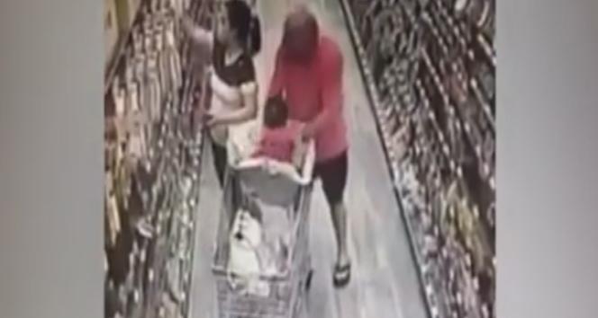 Markette bebek kaçırma girişimi: İşte o anlar!