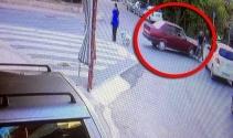 Otomobilin motosiklete çarptığı kaza güvenlik kamerasına yansıdı