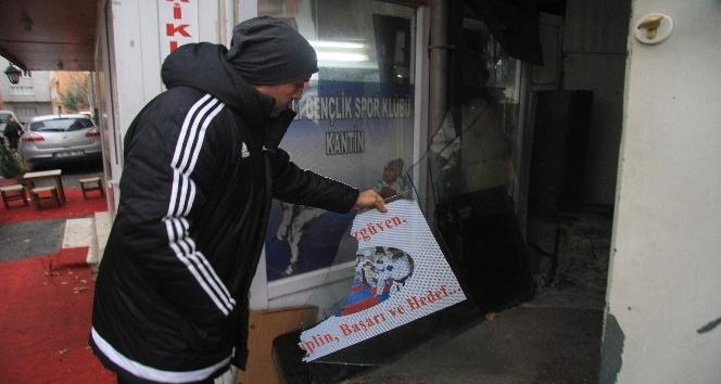 Bursa'da spor kulübüne taşlı saldırı güvenlik kamerasında