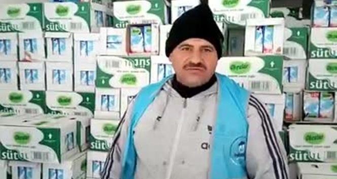 Türkmenlere süt dağıtılıyor