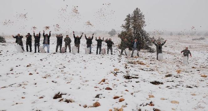 Mersin'e mevsimin ilk karı düştü