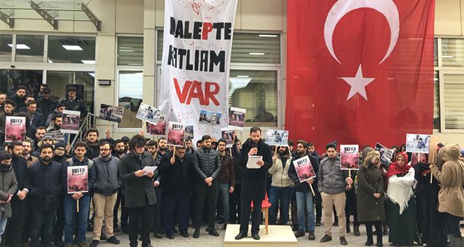 FSM Vakıf Üniversitesi öğrencileri Halepe sessiz kalmadı