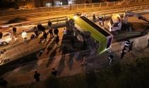 Yolcu otobüsü devrildi : 10 yaralı
