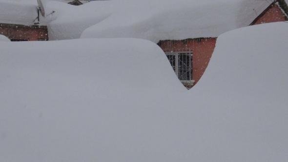 Bitlis'te tek katlı evler kar altında kayboldu