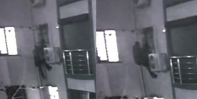 Örümcek adam gibi duvara tırmanan hırsızlar yakalandı