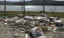 Sazlıdere Barajına dökülen hafriyat, havadan görüntülendi