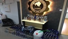 Yalovada 213 şişe sahte içki ele geçirildi