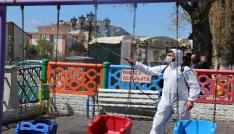 Çankırıdaki parklara dezenfektanlı bakım