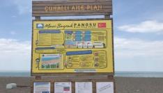 Akçakoca Çuhallı Plajına mavi bayrak panosu montajı yapıldı