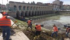 Beyşehirde kayıklarla kıyı temizliği