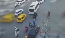 Sarıyerde değnekçiler vatandaşa saldırdı