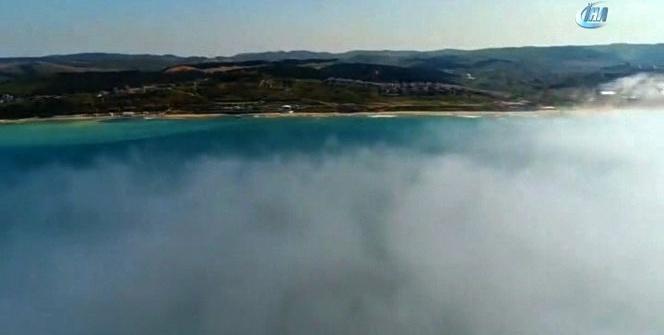 Rus savaş gemisinin kaza yaptığı bölge havadan görüntülendi