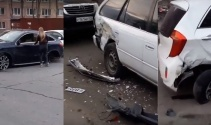Kadın sürücü 11 aracı hurdaya çevirdi