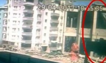 Samsundaki caminin çökme anı kamerada