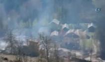 Çorumda köy yangını