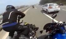 TEMde motosikletlilerin yaptığı kaza kamerada