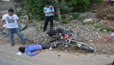 Motosiklet çöp konteynırına çarptı: 1 yaralı