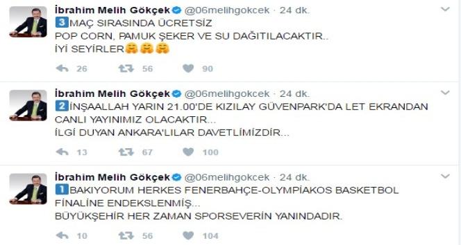 Ankara Büyükşehir Belediyesi'nden Fenerbahçe-Olympiakos maçına dev ekran