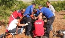 Ayakları çapa makinesine sıkışan şahsı ekipler kurtardı