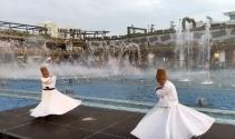 Ataşehirde semazenlerin, su ve ışık eşliğindeki gösterisi havadan görüntülendi