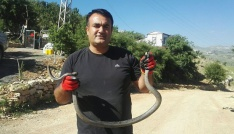 Su deposuna düşen yılanı kurtarma operasyonu