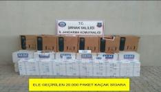 Şırnakta 20 bin paket kaçak sigara ele geçirildi