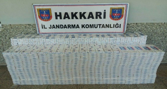 Yüksekovada 8 bin paket sigara ele geçirildi