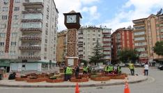 Seydişehirde saat kulesinin etrafına peyzaj çalışması