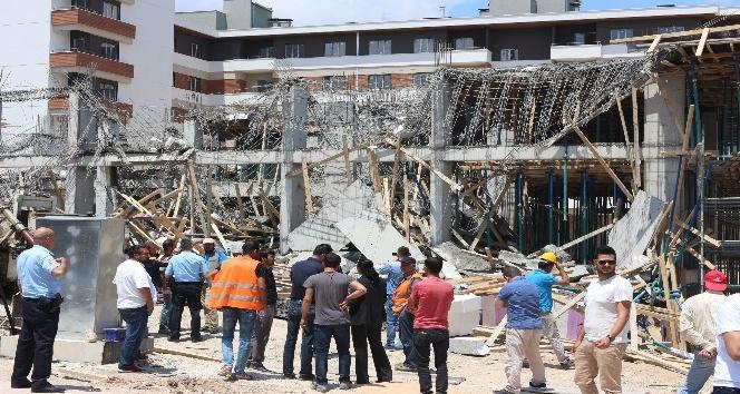 Konyada inşaatta beton dökümü sırasında göçük: 2 yaralı