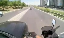 Motosiklet kazası kask kamerasında!