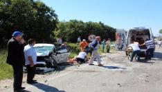Tekirdağda üç araç birbirine girdi: 6 yaralı