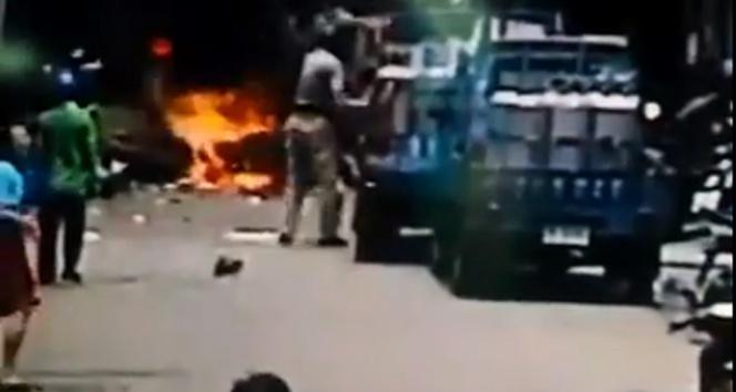 İki kişinin öldüğü patlama anı kamerada