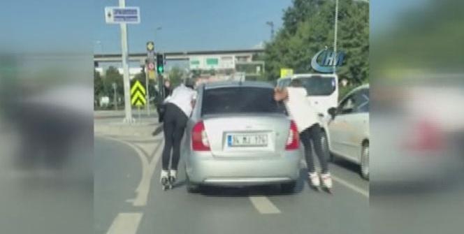 Patenci gençlerin trafikteki tehlikeli oyunu