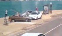 Tarabyada aracın denize uçma anı güvenlik kamerasında