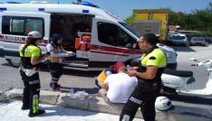 Motosiklet sürücüsü kazada yaralandı