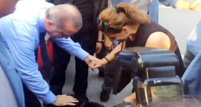 Cumhurbaşkanı Erdoğan Cesur köpek için otobüsten indi