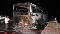 Amasyada yolcu otobüsü yandı