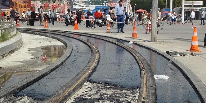 Nostaljik tramvayın yenilenen raylarına özel köprü asfaltı