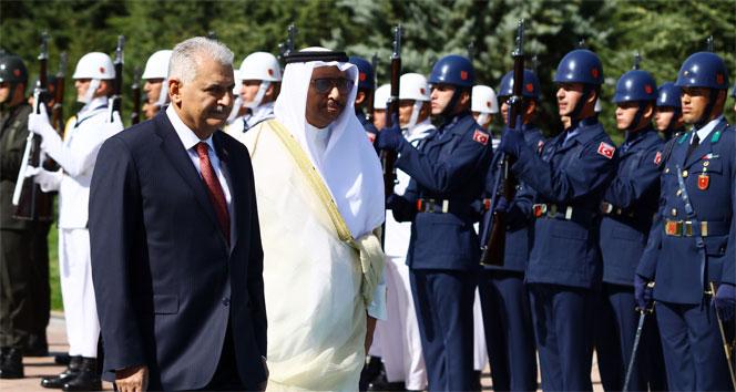 Başbakan Yıldırım, Kuveyt Başbakanı Sabah'ı resmi tören ile karşıladı