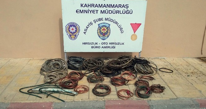Testereli kablo hırsızı yakalandı
